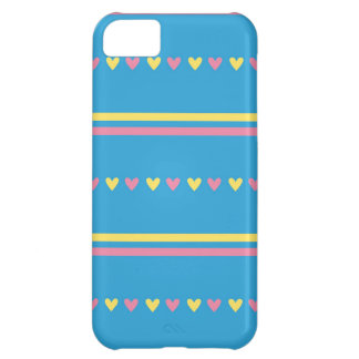 Retro hearts blue candy striped Fair Isle pattern iPhone 5C Case