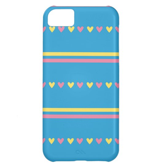 Retro hearts blue candy striped Fair Isle pattern iPhone 5C Case