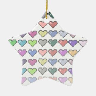 Retro Hearts Ceramic Star Decoration