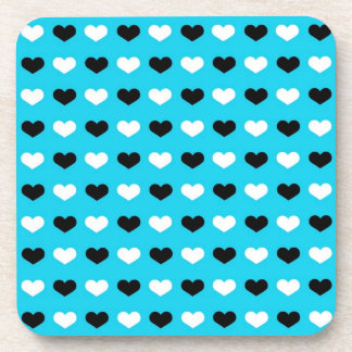 Retro Hearts on Teal Background Drink Coasters