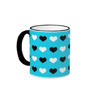 Retro Hearts on Teal Background Mugs