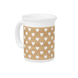Retro hearts wood background girly heart pattern drink pitcher