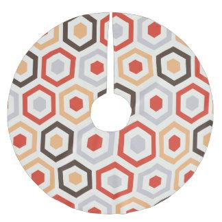 Retro hexagons brushed polyester tree skirt