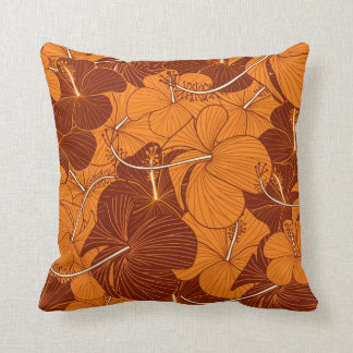 Retro hibiscus flower pattern pillow
