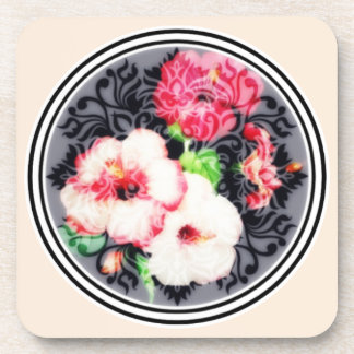 Retro hibiscus medallion on peach coaster
