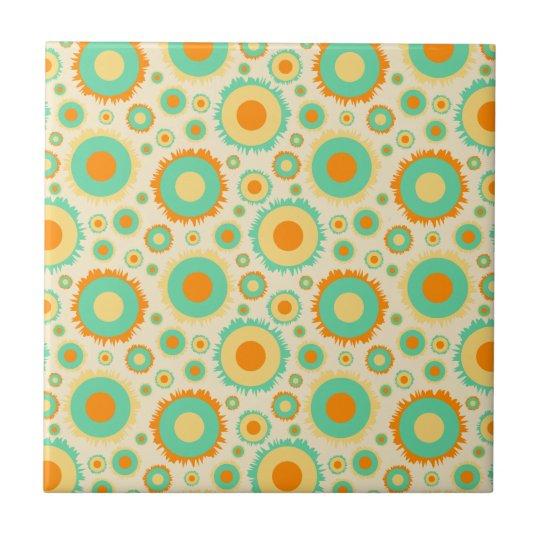 Retro Hippie Dots In Orange, Green, & Tan