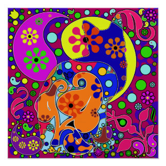 Retro Hippie Flower Power Colorful Cat Poster