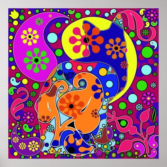 Retro Hippie Flower Power Colourful Cat Poster