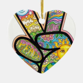Retro Hippie Peace Ceramic Heart Decoration