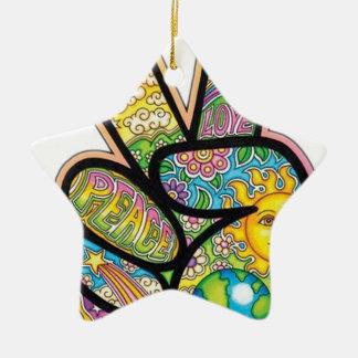Retro Hippie Peace Ceramic Star Decoration
