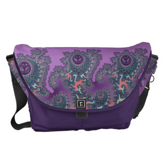 Retro Hippie Peace Fractal Personalized Messenger Bag