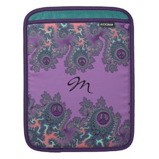 Retro Hippie Peace Fractal Personalized Sleeves For iPads