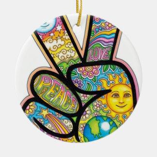 Retro Hippie Peace Round Ceramic Decoration
