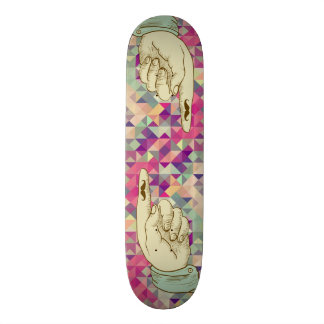 Retro hipster pointing hand skateboard decks