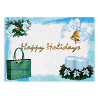 Retro Holiday Blues DISCOUNT/GIFT for Businesses Pack Of Chubby Business Cards