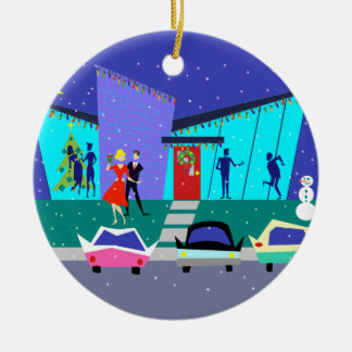 Retro Holiday Cartoon Christmas Ornament