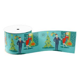 Retro Holiday Cartoon Couple Christmas Ribbon Grosgrain Ribbon