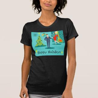 Retro Holiday Cartoon Couple T-Shirt