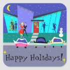 Retro Holiday Cartoon Party Stickers