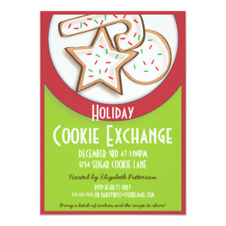 Retro Holiday Cookie Exchange in Red and Green Card