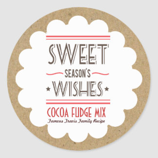Retro Holiday Cookie Sweets Craft Paper Gift Label Round Sticker