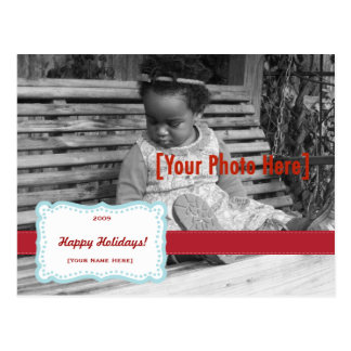Retro Holiday Fancy Photo Postcard Blue & Red