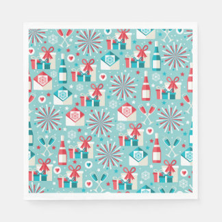 Retro Holiday Luncheon Paper Napkins