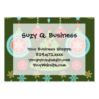 Retro Holiday Merry Christmas Tree Snowflakes Business Cards