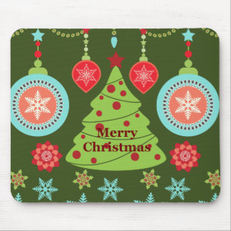 Retro Holiday Merry Christmas Tree Snowflakes Mouse Mat