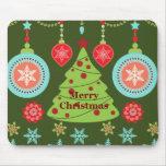 Retro Holiday Merry Christmas Tree Snowflakes Mouse Pad