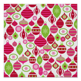 Retro Holiday Ornaments Christmas Pattern Poster