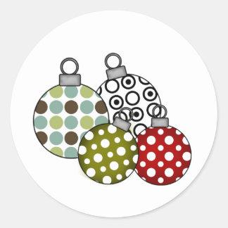 Retro Holiday Ornaments Classic Round Sticker