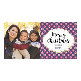 Retro Holiday Pattern Christmas Picture Photo Card