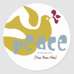 Retro Holiday Peace Label Round Sticker
