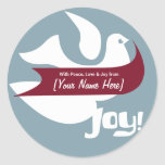Retro Holiday Peace Label Round Stickers