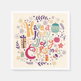 Retro Holly Jolly Christmas Design Disposable Napkins