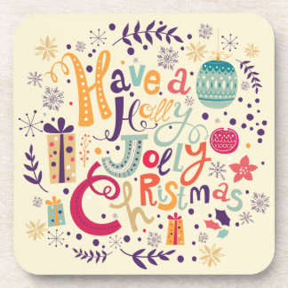 Retro Holly Jolly Christmas Wreath Drink Coaster