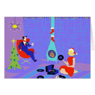 Retro Home for the Holidays Christmas Card