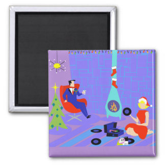 Retro Home for the Holidays Christmas Magnet