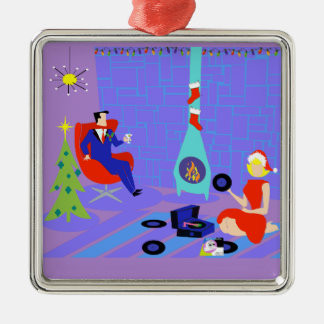 Retro Home for the Holidays Christmas Ornament