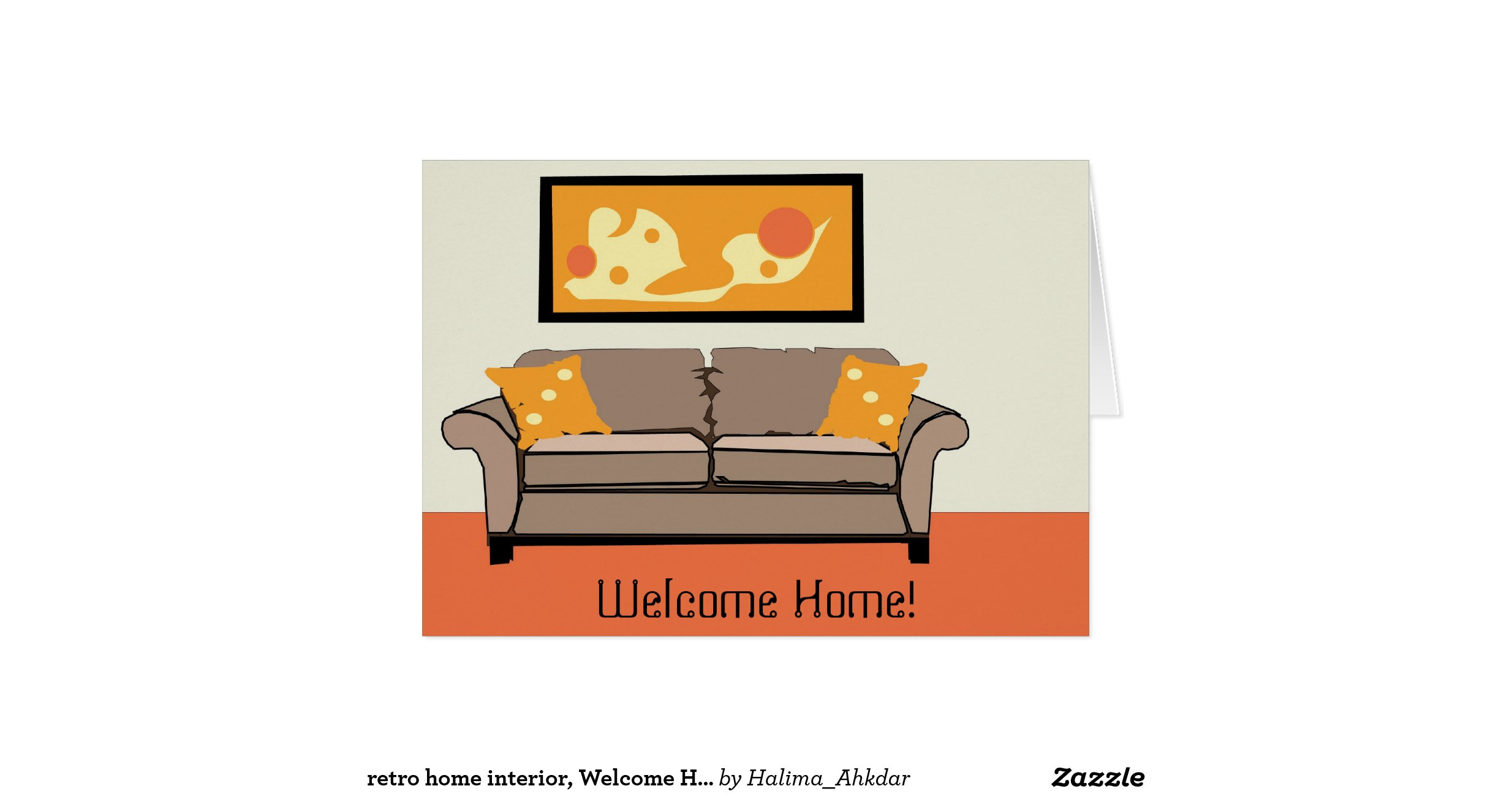 welcome home interiors retro home interior welcome home greeting card zazzle 15414