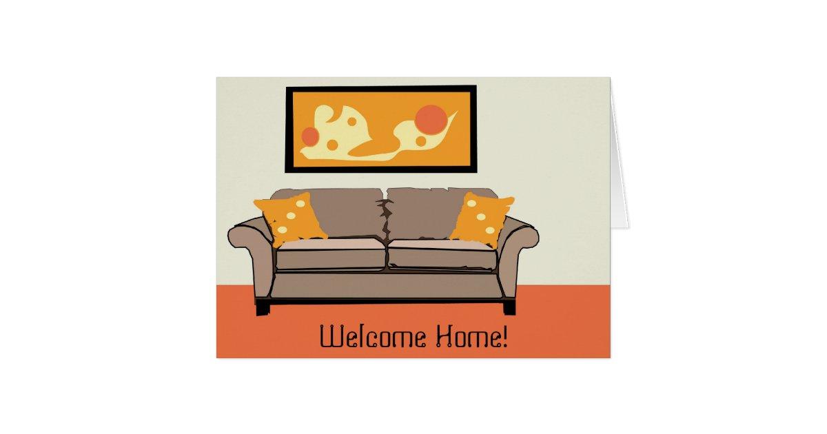 retro home interior welcome home greeting card zazzle
