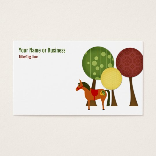 Retro Horse and Trees Business Card
