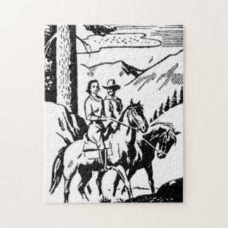 Retro Horseback Riding Jigsaw Puzzle