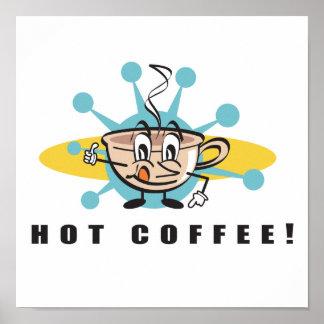 retro hot coffee design poster