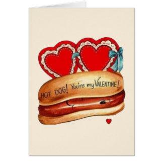 Retro Hot Dog Valentine's Day Greeting Card