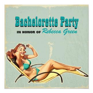 retro hot pin up girl bachelorette party 13 cm x 13 cm square invitation card