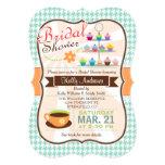 Retro Houndstooth Tea Party, Cupcake Bridal Shower 13 Cm X 18 Cm Invitation Card