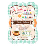 Retro Houndstooth Tea Party, Cupcake Bridal Shower 13 Cm X 18 Cm Invitation Card