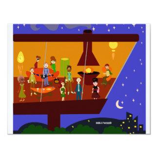 Retro House Party 4.25x5.5 Paper Invitation Card